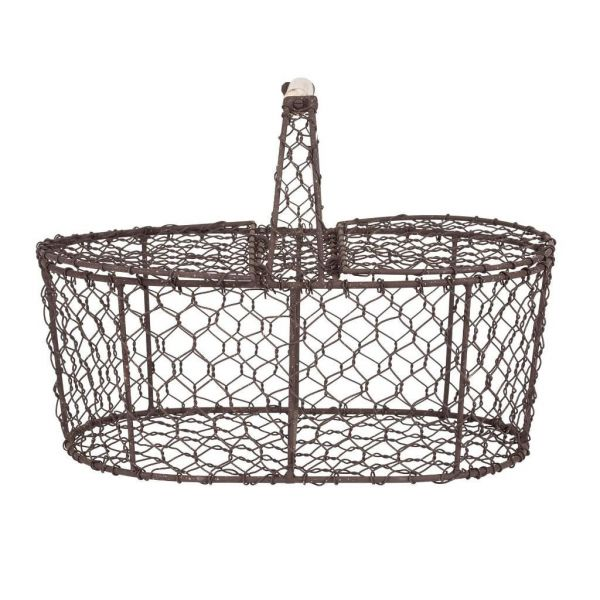КОРЗИНА, COMPTOIR DE FAMILLE,  BASKET FLORAL ANTIC BROWN 30X19XH22CM IRON, АРТИКУЛ 200819