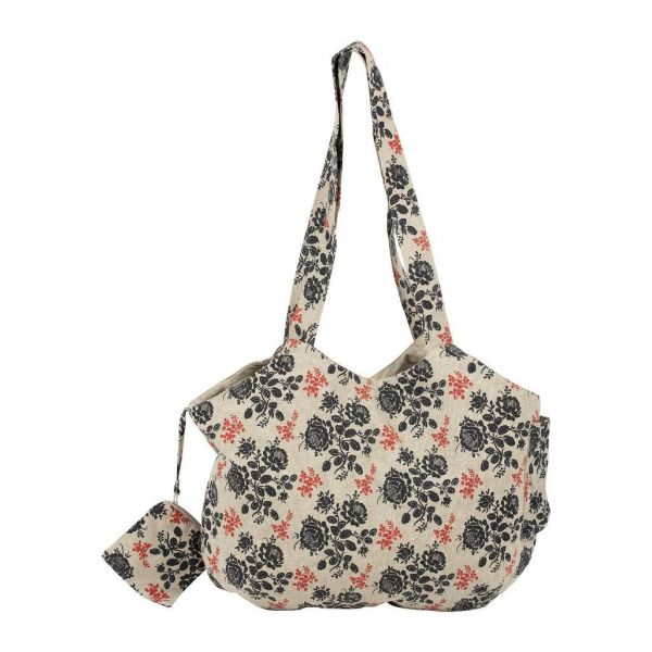 СУМКА, COMPTOIR DE FAMILLE,  BAG ROSETTE NATURAL+BLUE 50X38CM COTTON, АРТИКУЛ 200950