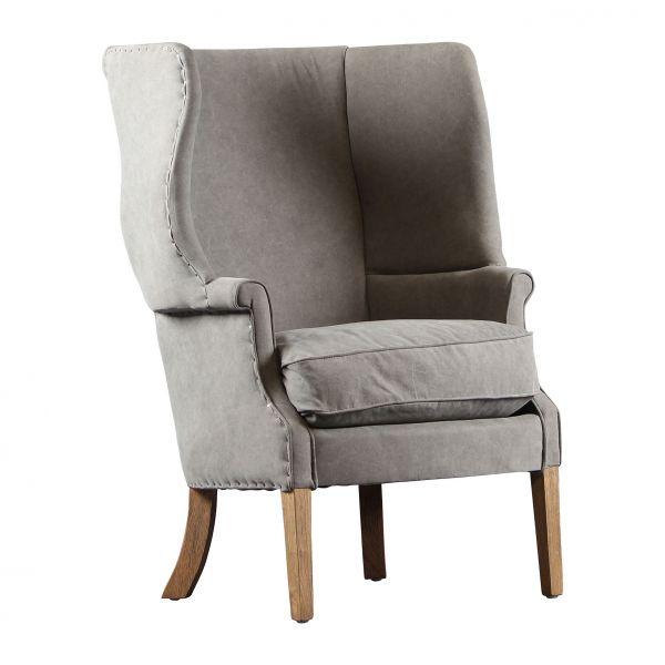 Кресло  МАССИВ ДУБА. ХЛОПОК. BERGERE  AMRCHAIR ETHIOR GREY 71X81XH95CM OAK WOOD+COTTON COTE TABLE, Арт.: 32900