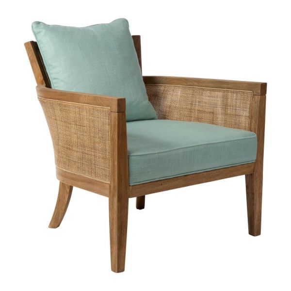 Кресло LAKSOA SEAGREEN 70X78X74 OAK+RATTAN+LINEN COTE TABLE, Арт.: 33498