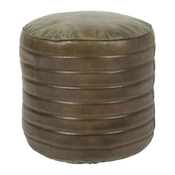 Пуф LERY GREEN D50XH30CM GOAT LEATHER+COTTON COTE TABLE, Арт.: 34443