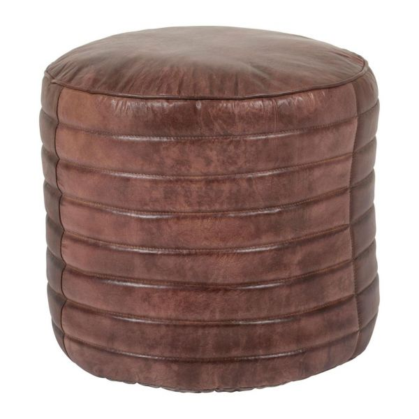 Пуф LERY BROWN D50XH30CM GOAT LEATHER+COTTON COTE TABLE, Арт.: 34445